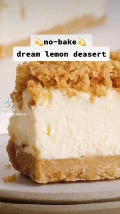 Lemon Dessert Recipes, Fun Baking Recipes, Easy Cake Recipes, Easy Lemon Desserts, Easy Delicious Desserts, Pineapple Cheesecake, Lemon Cheesecake Recipes, Easy No Bake Desserts, Yummy Food