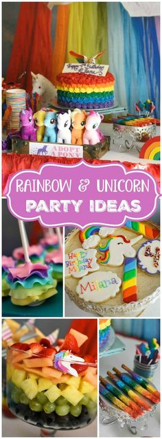 You must see this unicorns and rainbows birthday party! See more party ideas at CatchMyParty.com! Rainbow Dash Party, Rainbow Unicorn Party, Rainbow Parties, Rainbow Birthday Party, Unicorn Birthday Parties, Birthday Fun, First Birthday Parties, Birthday Ideas, Rainbow Fruit