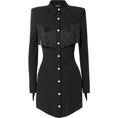 Balmain Fringed stretch-crepe mini dress ($4,455) ❤ liked on Polyvore featuring dresses, balmain dress, shoulder pad dress, short mini dress, western fringe dress and short dresses