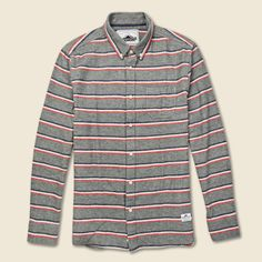 Hants Brushed Flannel Shirt - Grey/Red