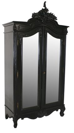French Moulin Noir 2 Door Mirrored Armoire