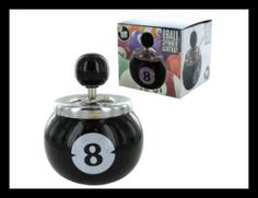 Take this 8 Ball Push Button Ash Tray for a spin and keep your smoking area clean. At the push of a button your ashes will disappear into the large 8 ball container.