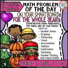 FREE Math Smartboard Activities for:Spring, Easter and Earth Day, St. Patrick's Day, Goundhog Day, Valentine's Day, and 100 Day*NOTE: You do not need to own Notebook software to use this product.  It can be used without the program ON ANY INTERACTIVE WHITEBOARD by using this link:Smart Notebook ExpressDownload any of my free SmartBoard samples to try it out!This is a sample of each of my SmartBoard Math Problem of the Day resources, all in one growing file.