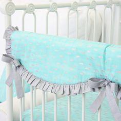 Caden Lane | Aqua and Silver Sparkle Ruffle Baby Bedding | Gray and Aqua Crib Rail Cover
