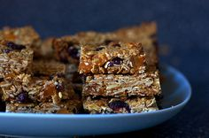 Granola Bars. oatmeal, almonds, coconut, wheat germ,honey vanilla, salt, dried fruit.