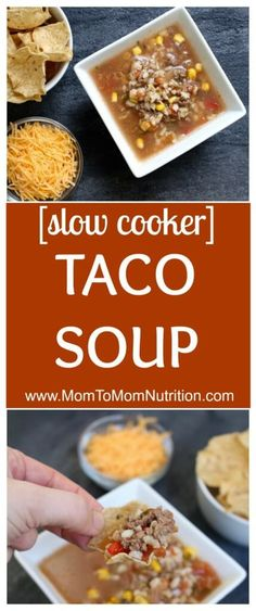 Slow Cooker Taco Soup made with veggies, salsa, and lean Ground Beef is full of traditional taco flavor but served as a soup! @MomNutrition