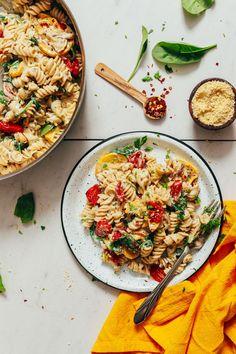 CREAMY White Pasta with Summer Vegetables! 10 ingredients, simple methods, light, cheesy, satisfying. #pasta #plantbased #glutenfree #recipe #minimalistbaker