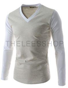 (TCA15-OATMEALWHITE) Mens Casual Slim Fit V-neck Long Sleeve Tshirts