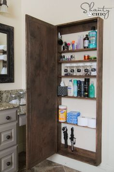 DIY Bathroom Mirror Storage Case (front of cabinet has a full-length mirror attached)