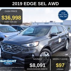 Stock# 04.15 - 99050  $0 DOWN, COLD WEATHER PACKAGE, EVASIVE STEERING ASSIST, ADAPTIVE CRUISE CONTROL, HEATED WINDSHIELD WIPER DE-ICER, AND MORE.  Lease FOR $97/week for 48 months @ 2.49% APR.  Some of the premium features include.  >Auto dual zone temperature control  >Power Liftgate... Ford Employee, Car Deals, Ford Edge, 2019 Ford, Cruise Control, Car Ford, Cold Weather, Ontario, Cold