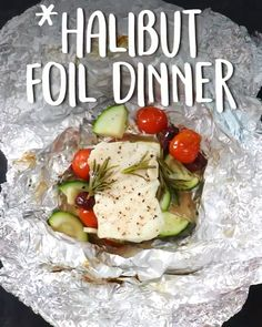 Amazingly tender, succulent, and flavorful—all in 10 minutes .. Halibut Foil Dinner Via #Tastyfoodvideos Foil Packet Dinners, Foil Dinners, Foil Pack Meals, Lunches And Dinners, Halibut Recipes, Fish Recipes, Seafood Recipes, Fish Dinner, Seafood Dinner