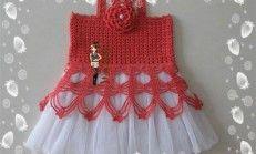 Kırmızı tüllü örgü çocuk elbisesi