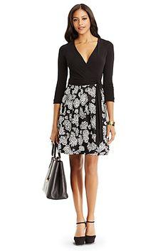 DVF Jewel Silk Combo Dress In Black/ Leopard Fleur Black
