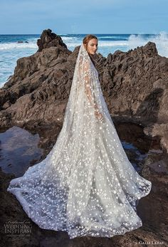 galia lahav gala 2018 bridal sleeveless deep v neck full embellishment romantic a line wedding dress open v back chapel train (4) sdv -- Gala by Galia Lahav Collection No. 5 Wedding Dresses