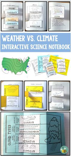 This interactive science notebook is packed with activities to help your students understand weather, climate, clouds, storms, natural events weather instruments and climate zones ((2 foldables per page) Foldables and fold-ups  may be used as study guides or assessments. Pictures of the completed foldables are included at the end of this resource.