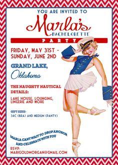 Nautical Vintage Pin Up Girl Invitation- Bachelorette party, Hens night, Lingerie Shower Birthday invite diy print file PRINTED OPTIONAL via Etsy