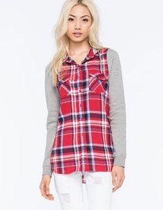 FULL TILT Boyfriend Womens Hooded Flannel Shirt
