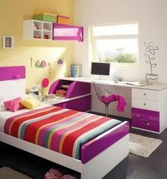 20 Unique Girls Bedroom Ideas You Might Want to Try - Simply Home Small Room Bedroom, Bedroom Colors, Dream Bedroom, Girls Bedroom, Bedroom Decor, Small Rooms, Bedroom Ideas, Cool Rooms, Room Paint