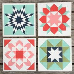 Image of Bonnie & Camille - Set of 4 - Wood Barn Quilts