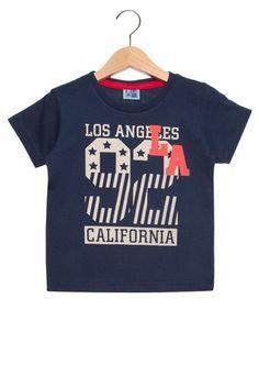 Camiseta Manga Curta Duduka Infantil Los Angeles 92 Azul-Marinho