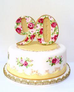 wowzers.  90th birthday cake to match a vintage tea set.