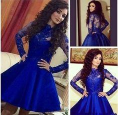 Homecoming Dress,Lace Homecoming Dress,Royal Blue Homecoming Dress,Long Sleeves Homecoming Dress,Short Prom Dress