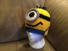 Minion inspired crochet hat Minions, Crochet Hats, Beanie, Inspired, Inspiration, Fashion, Knitting Hats, Biblical Inspiration, Moda