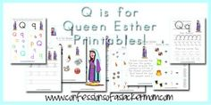 Walk Beside Me LDS Preschool: Q is for Queen Esther FREE Printables (again, don't have to be LDS to use this) Bible Activities For Kids, Preschool Bible, Bible Study For Kids, Preschool Letters, Church Activities, Preschool Curriculum, Preschool Printables, Preschool Lessons, Alphabet Activities