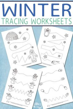 Free Printable Winter Tracing Worksheets for Kids #freeprintablesfokids #winterprintablesforkids #tracingworksheets