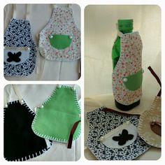 Avental para garrafa de azeite ou vinagre.