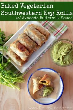 Baked Vegetarian Southwestern  Egg Rolls with Avocado Buttermilk Sauce. Makes 20 Rolls. These eggrolls are chocked full of veggies and two different styles of cheese.