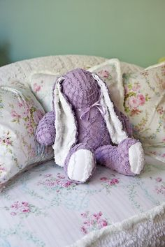 * DIY hand-sewn chenille bunny * Handmade Shower gift * Great use for vintage linens! Chenille Crafts, Chenille Bedspread, Lavender Cottage, All Things Purple, Purple Stuff, Vintage Shabby Chic, Spring Colors, Linen Bedding, Bed Linen