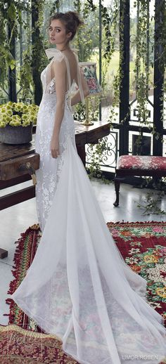 XO by Limor Rosen 2019 Wedding Dresses - Hope mermaid bohemian wedding dress | Graceful floral bridal gown fitted silhouette made of delicate embroidered lace over blush lining with tulle bow ties on the shoulders and dramatic chapel train | Boho Wedding Gown | #weddingdress #weddingdresses #bridalgown #bridal #bridalgowns #weddinggown #bridetobe #weddings #bride #weddinginspiration #dreamdress #fashionista #weddingideas #bridalcollection #bridaldress #fashion #bellethemagazine #ido #dress