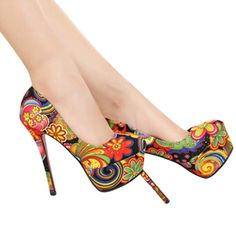 2014 New Arrival Colorful cloth cover stiletto women's thin shoes for 4 seasons Free shipping XWD080 $37.23