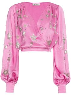Attico Bead Embellished Wrap Blouse In Pink&purple Casual Skirt Outfits, Stage Outfits, Cool Outfits, Fashion Outfits, Womens Fashion, Fashion Fashion, Wrap Blouse, Look Chic, Ladies Dress Design