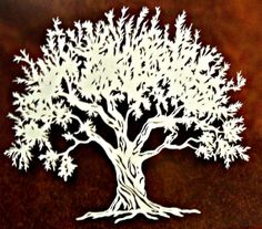 Such an intricate paper cutting of an olive tree. Silhouette Images, Tree Silhouette, Silhouette Cameo, Pomegranate Jam, Paper Art, Paper Crafts, Olive Tree, Tree Of Life, Paper Cutting