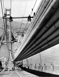 Description of  This is a close up of one of the nearly completed cables which will hold up the floor of the $32,500,000 Golden Gate Bridge in San Francisco, Ca., May 4, 1936.  Approximately 27,500 steel wires are in each cable, which are 36 1/2 inches in diameter and 7,700 feet long.  The bridge spans the entrance to San Francisco harbor and joins the city with Marin County.  (AP Photo)