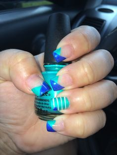 China glaze turned up turquoise  China glaze snowman French manicure Blue and teal nails Two tone nails