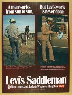1976 Levi's Saddleman Boot Jeans & Jackets levi vintage print Ad | eBay Vintage Levis, Vintage Ads, Vintage Prints, Denim Boots, Jeans And Boots, Denim Shirt, Levis Jeans, Western Signs, Retro Ads