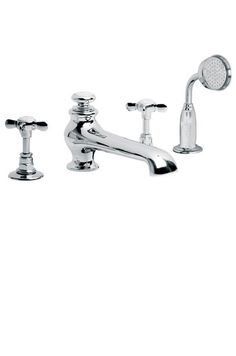 £632  Lefroy Brooks Classic four hole bath set with diverter and pull-out hand shower LB1250
