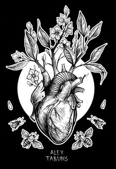 Love the idea of an anatomical heart with flowers blooming out of it.