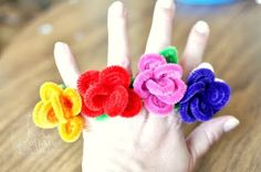 silly fun pipe cleaner rings: these would be great fun at a little girl's birthday party