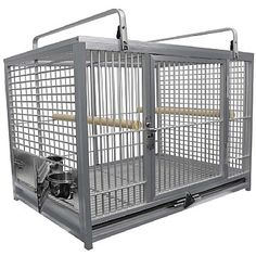 This lightweight King`s Cages Aluminium Parrot Travel Cage - Large is great for when you and your Parrot want to travel. Shop now. King Cage, Parrot Toys, Parrot Cages, Stainless Steel Cups, Bird Toys, Glass Birds, New Tricks, Shop Now, Pets