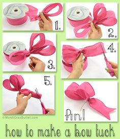 Flip Flop Ruffled Ribbon Wreath For Summer: New Deco Mesh Tutorial How to make a bow tuck to add into wreaths, floral arrangements, and crafts! Diy Bow, Diy Ribbon, Ribbon Crafts, Ribbon Bows, Ribbons, Mesh Ribbon, Ribbon Hair, Mesh Bows, Burlap Ribbon