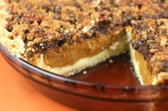 Cream Cheese, Pumpkin, Pecan Layered Pie.