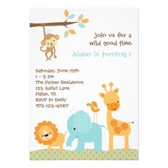 Blue Sweet Safari Invitations Personalized Invitation