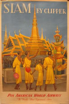 Vintage Travel Poster : Siam by Clipper Pan American World Airways