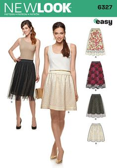 Misses' Skirts with Length and Overskirt Variations