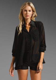 UNIF Caution Spiked Blouse in Black at Revolve Clothing - Free Shipping!