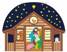 Jozef en Maria met kindje Jezus in de stal met dieren om zich heen onder een sterrenlucht